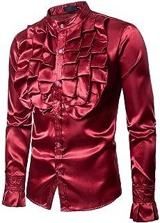 XBOTS [ かっこいい シャツ] メンズ秋カジュアルシャツ長袖シャツPratyシャツイブニングソリッドブラウス メンズチェストビッグフラワーコスチュームファッションデザインスタンドカラー長袖シャツ 薄手 ストライプ カジュアルシャツ 耐摩耗 吸汗透湿素材 メンズ