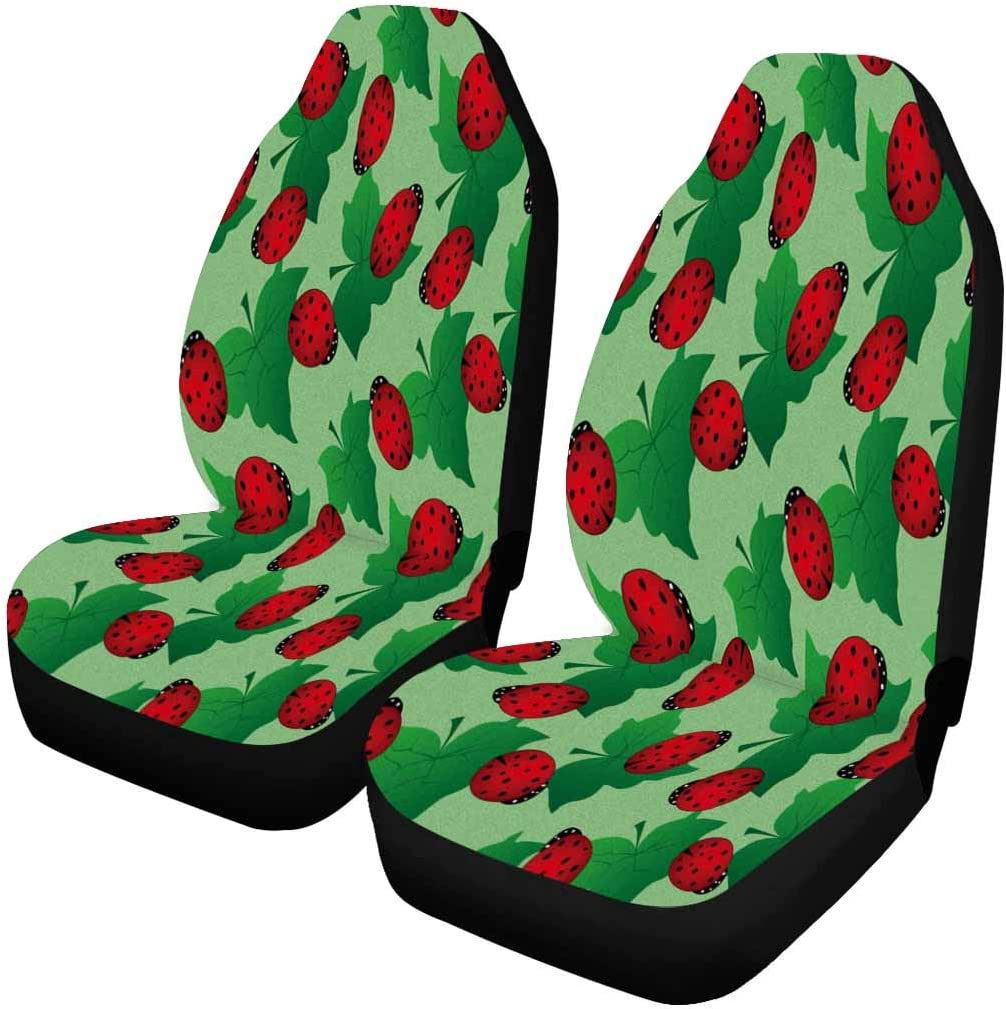 Seattle Mall INTERESTPRINT Cute Ladybug and Green Front Leave Our shop OFFers the best service Cover Seat Car