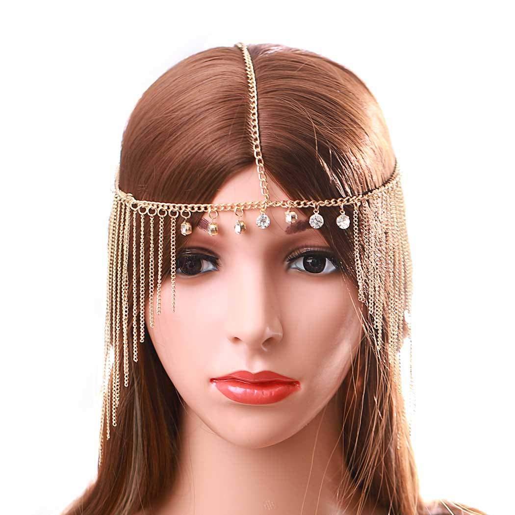 Urieo Crystal Head Chain Jewelry Rhinestone Forehead Chain Gold Tassel Headband Halloween Wedding Headpiece for Women and Girls