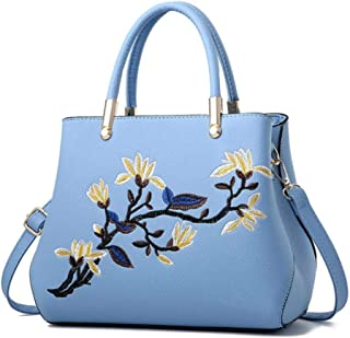 LHKFNU Women Leather Ladies Handbag Tote Embroidery Flower Crossbody Shoulder Bag Purse Satchel Top Handle Bags