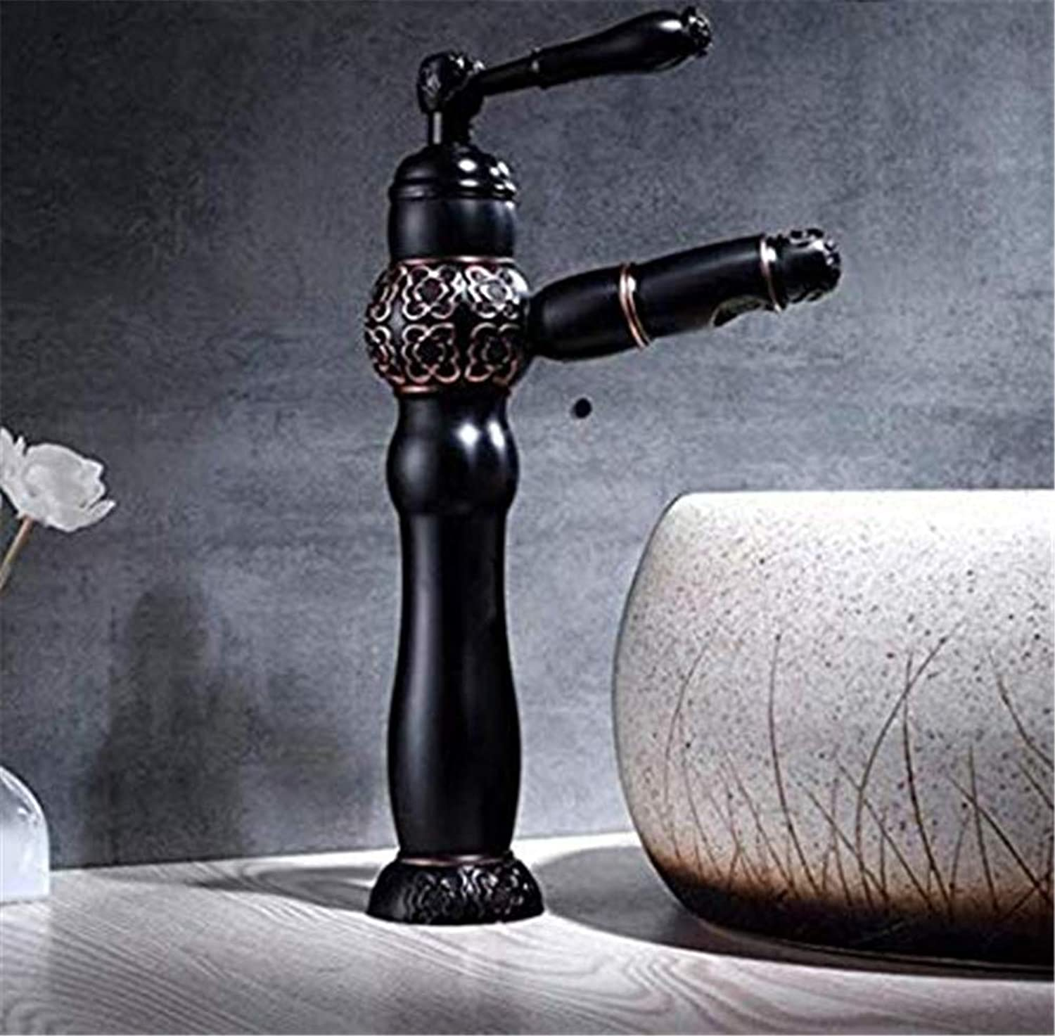 redOOY Taps New Basin Faucets Pull Out Black Bathroom Sink Crane Copper Sink Wc Mixer Faucet Hot And Cold Deck Mounted Bathroom Faucet Taps