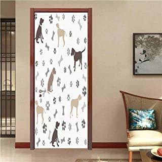 Dog Lover Vinyl Carving Decal Sticker Paw Print Bones and Dog Silhouettes American Foxhound Breed Playful Pattern It is self-Adhesive Umber Beige Grey W23.6 x H78.7 INCH
