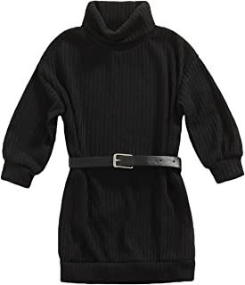 Bmnmsl Toddler Baby Girls Fall Sweater Dress with Belt Solid Long Sleeve Knit Oversized Sweatshirt Dress Winter Outfits, B...