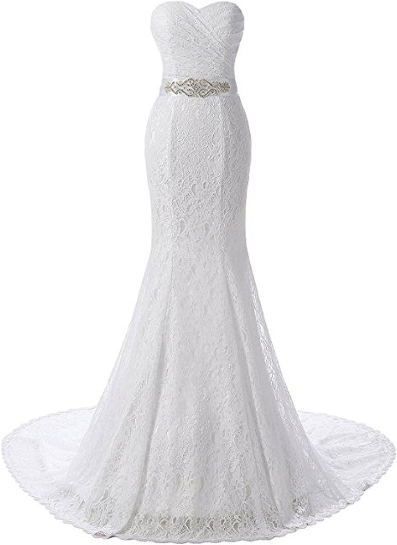 Macria Women's Sweetheart Ruffles Lace Mermaid Bridal Wedding Dresses