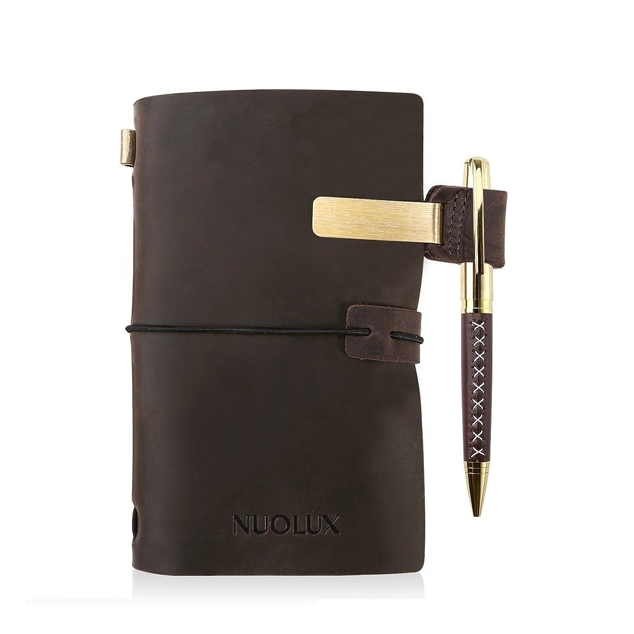散らす組裁判官NUOLUX 手帳 レザー製 レトロスタイル 詰め替え可能 ペン付き