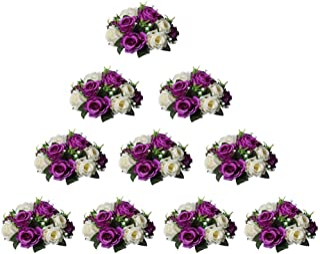 Nuptio konstgjorda blommor, bollarrangemang, bukett, 15 huvuden plastrosor med bas, lämpliga för butik, bröllop, mittpunk...