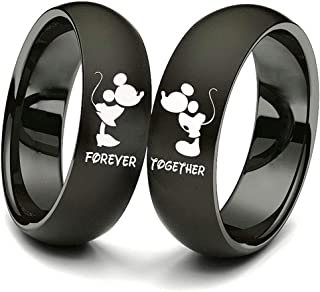 XAHH 2pc Matching Set His and Hers Couple Titanium Steel Rings Mickey Mouse Kiss Forever Together Promise Wedding Band Bla...
