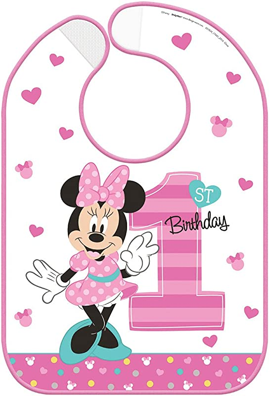 Minnie Mouse 1st Birthday Fun To Be One Plastic Birthday Bib 1ct