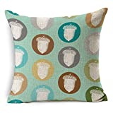 HT&PJ Decorative Cotton Linen Square Throw Pillow Case Cushion Cover Colorful Botany Design 18 x 18 Inches