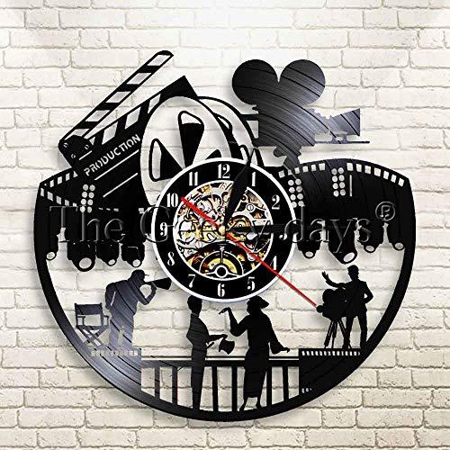 FDGFDG Actores en películas Disco de Vinilo Reloj de Pared Director de Cine Gramófono Reloj Moderno Decoración de Pared de Cine Regalo para un Amante del Cine