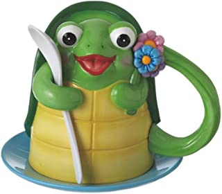 Midwest CBK Turtle Coffee Mug Saucer Plate And Spoon Set Tea Hot Chocolate Green with Flowers