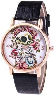 Women Quartz Watch,Hosamtel Lady Leather Band Sugar Skull Floral Analog Watch A63 (Black)