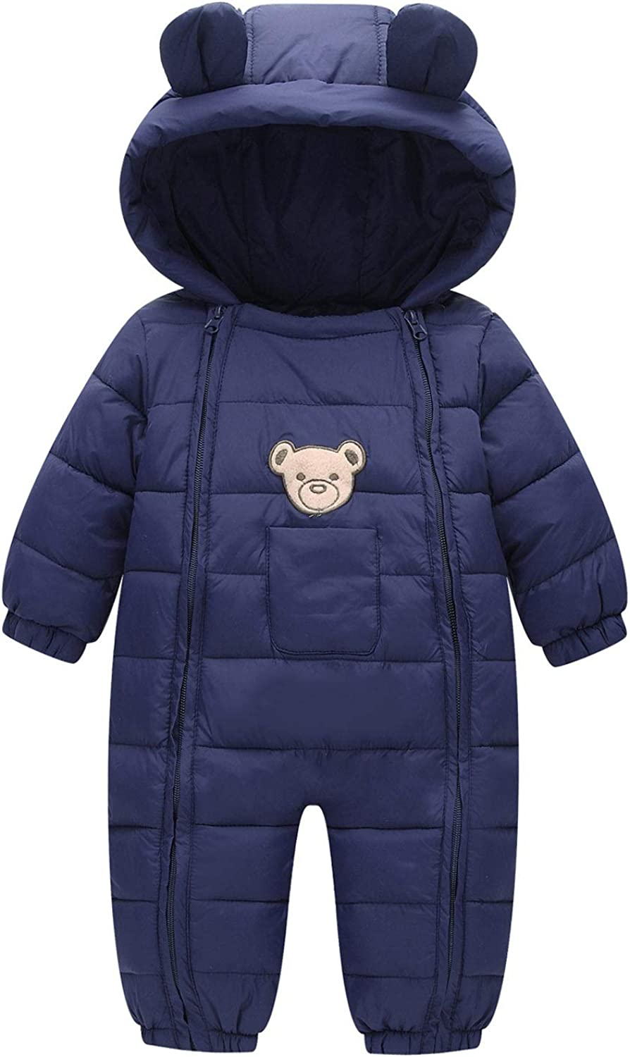Happy Cherry Baby Winter Romper Thermal Snowsuit Jumpsuit Cute Hooded Coat 3-24 Months