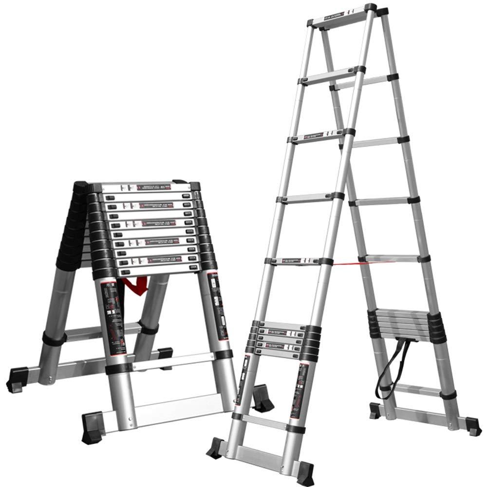 ZR- Aluminio Escalera Telescópica Portátil Plegable Escalera De Marco A Pasos De La Extensión, Capacidad De 330 Lb, Certificado EN131 -Fácil de almacenar y fácil de llevar (Size : 2.0m(6.5ft)): Amazon.es: Hogar