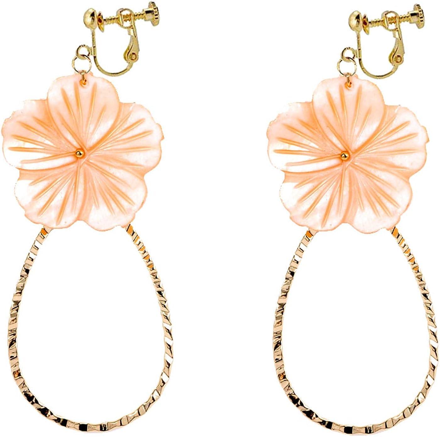 Retro Clip on Bohemian Earrings for Women Girls Petal Multicolor Seashell Flower Dangle Drop Round Tassel