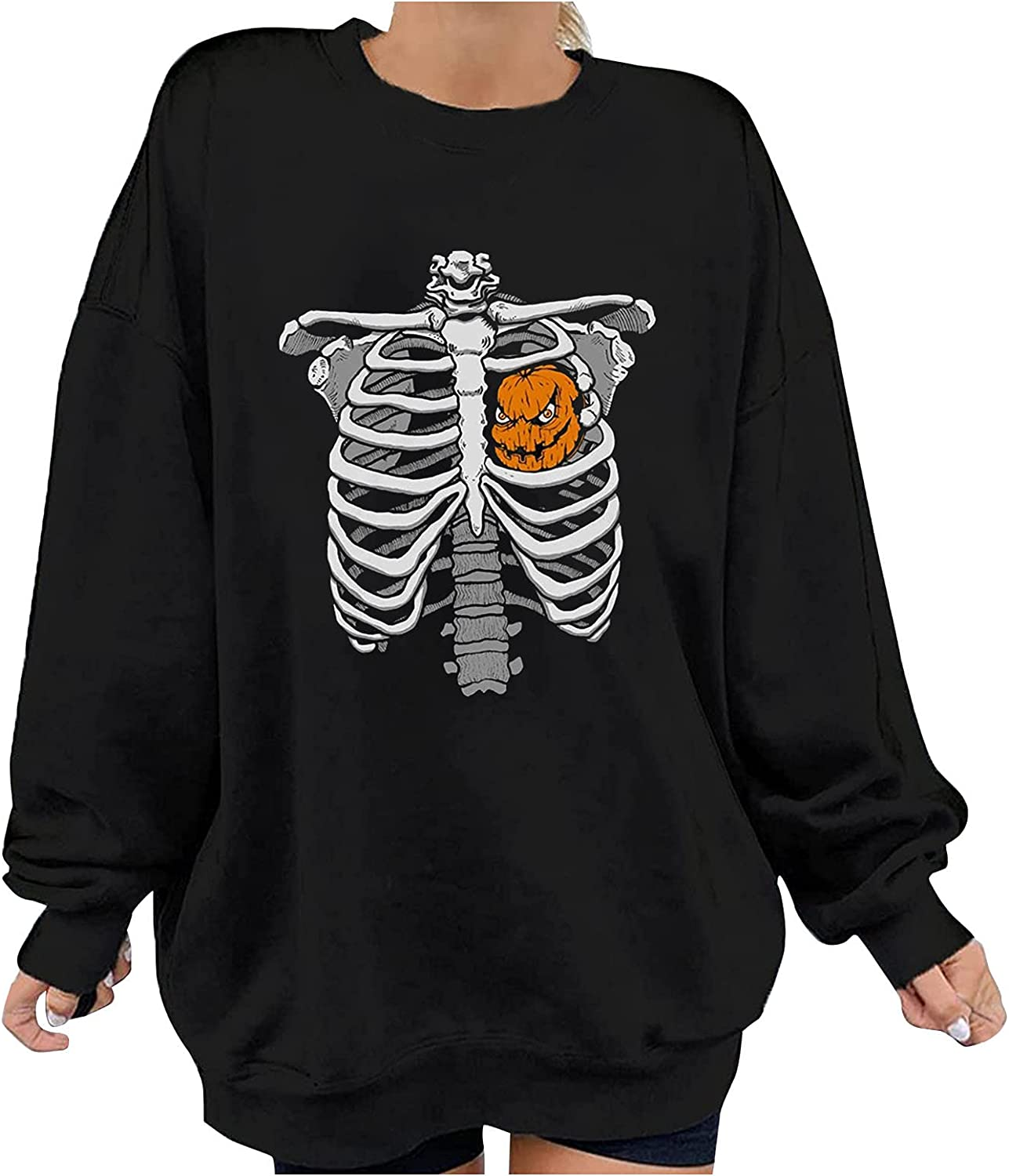 Pandaie Halloween Long Sales for sale Sleeve Shirts Skeleton Max 88% OFF Rib Women Cage