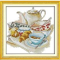クロスステッチ大人、初心者11ctプレプリントパターンエレガントなお茶セット40x50cmDIYスタンプ済み刺繍ツールキットホームの装飾手芸い贈り物40x50cm(フレームがない )