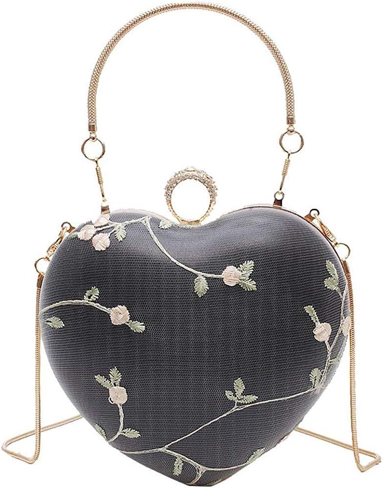 Van Caro Vintage Heart Shape Evening Bag Clutch Handbag Crossbody Shoulder Purse