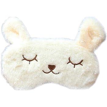 B Baosity Masque de Nuit Homme Femme Enfant Cache Yeux Pour Dormir en Coton Motif de Lapin blanc Bandeau de Nuit pour Voyage en Avion Masque de Sommeil
