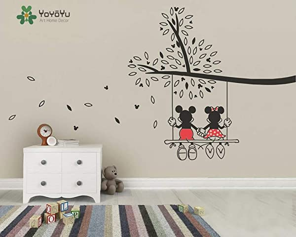 Outsidetheboxdecor Vinyl Nursery Tree Sticker Mickey And Minnie Swing Tree Wall Decal Kids Children Bedroom Decoration Art DIY Poster Y003