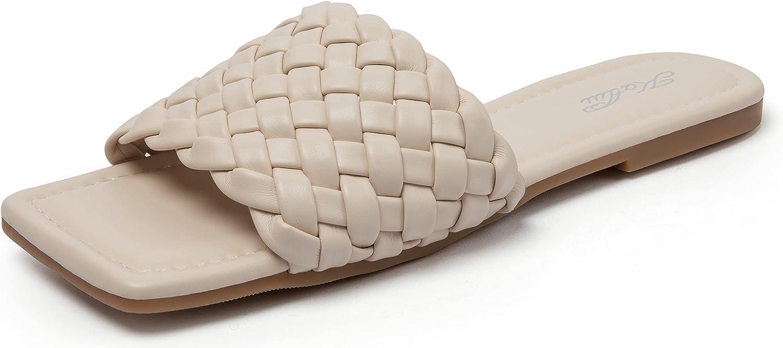 Women's Square Open Toe Flat Sandals Slip On Slide Sandals Woven Strap Flat Sandals