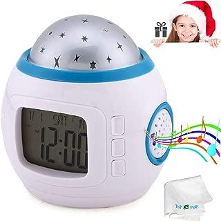 Alarm Clock Kids Sleep Clock Starry Sky Night Light Star Projection Clock Music Digital Clock with Backlight Led Night Light Calendar Thermometer for Kids Baby Boys Girls Children Bedroom Party