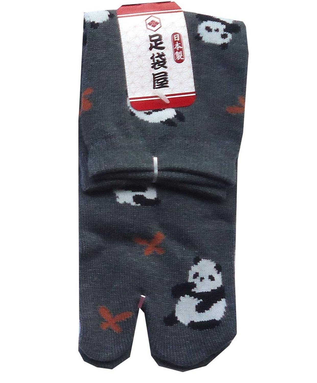 足袋屋 レディース パンダ 総 柄 足袋 クルー 丈 ソックス (婦人 日本製 靴下) 22-25cm