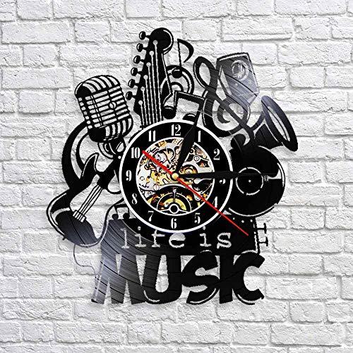 BFMBCHDJ Das Leben ist Musik Vintage Vinyl Schallplatte Wanduhr Antike Musikuhr 3D Uhren Modernes Design Home Uhren Große Geschenkidee Mit LED 12 Zoll