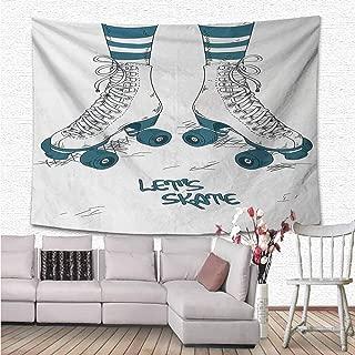 NineHuiTechnology Retro Wall Tapestry, Girls Legs in Stripes Stockings and Retro Roller Skates Fun Teen Illustration Print Wall Hanging for Bedroom Living Room Dorm Home, 59