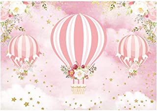 Funnytree 7x5ft Pink Floral Hot Air Balloon Party Backdrop Up Up and Away Adventure Girl Baby Shower Birthday Photography Background Glitter Flowers Cake Table Decorations Banner Photo Booth Props