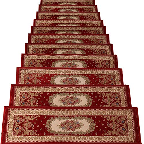 TINTON LIFE Set of 13 Non-Slip Washable Stair Treads Carpet with Skid Resistant Rubber Backing Indoor Wooden Step Mats Self-Adhesive Stair Protectors 10.2' x 25.2' Alexander Red