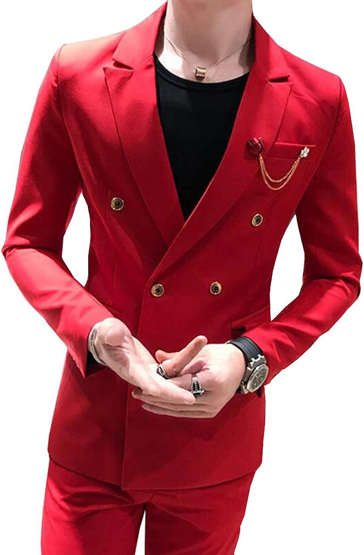 Fitty Lell Men's Suit 2 Pieces Double Breasted Blazer Slim Fit Men Suit Set
