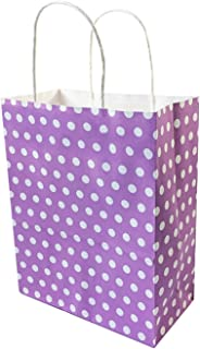 10 Pcs lot Party Gift Paper Bag Shopping Bags DIY Multifunction Dot Purple Kraft Paper Bag with Handles 3 Size,27x21x11