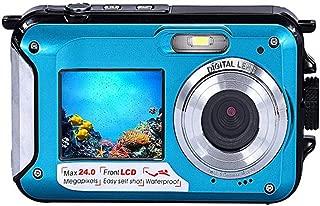 TOPmountain 16X Zoom Hd Waterproof Digital Camera Dual Screen 2.7'' LCD Camera Full Hd Camera Travel Photograph - Blue