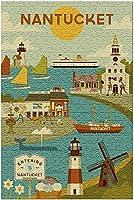 Nantucket-Geometric 97868(13x19 Made in USAの大人向けプレミアム500ピースジグソーパズル!)