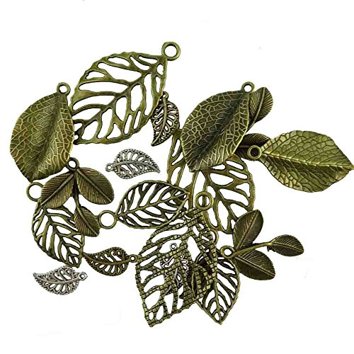 Honbay 18pcs Vintage Bronze Tree Leaf Theme Tone Alloy Charms Finding, Mixed 6 Styles, DIY Jewelry Making Findings For Bracelet Necklace