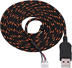 Richer-R 2.2 Meters USB Mouse Lines Wire Mice Cable Replacement Part Repair Accessory for Steelseries kana Mouse(Black+Orange)