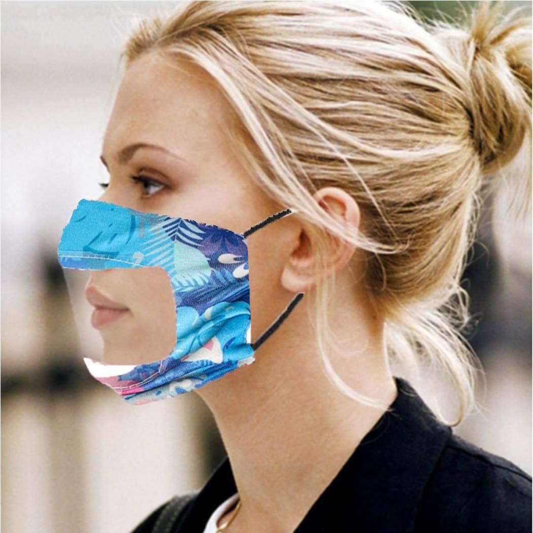 Blu Handcess Unisex Plaid Reuseble Bocca Copertura Visibile Lavabile PVC Trasparente Copertura Antipolvere Elastico Regolabile Earloop Cotone Maschere Protettive Antipolvere