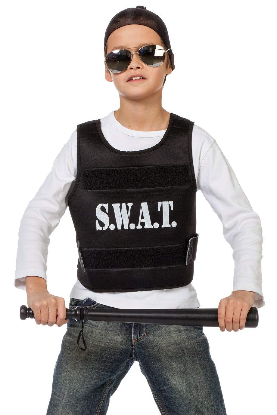 The Fantasy Tailors SWAT Chaleco para niños, Negro, Disfraz de ...