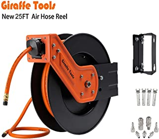 Giraffe Retractable Air Hose Reel with 3/8 in. x 25 Ft Hybrid Air Hose, Industrial Grade Auto Rewind 300 PSI Heavy Duty Steel Reel