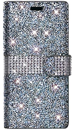 PinyCase Bling Rhinestone Wallet Case for Apple iPhone 8 Plus iPhone 7 Plus 5.5' Glitter Stand Sparkle Crystal Diamond Flip Card Slot Luxury Girl Women Phone Cover Fit 7Plus 8Plus (Silver)