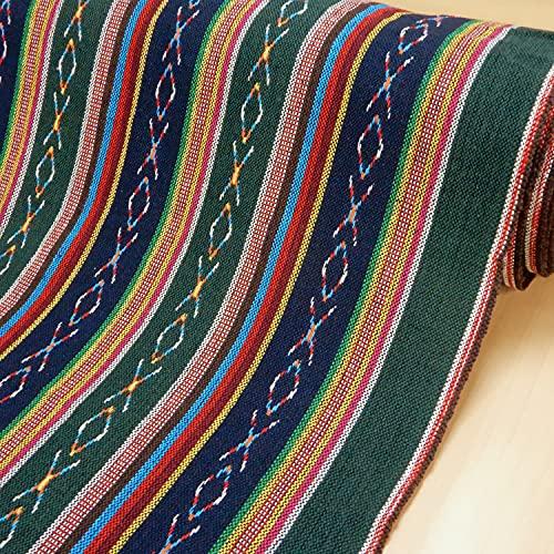 メキシカンドビー生地 【グリーン系】おしゃれな民族調ネイティブ柄の布 ハンドメイドのエスニック調のラグ マット マルチカバーに【1m単位】
