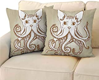 QIAOQIAOLO Pack of 2 Multifunctional Pillowcase Octopus Decor Collection Easy to Care 14x14 inch Octopus with Cat Head Illustration Vintage Style Cartoon Cat with Tentacles Home Decor Grey White