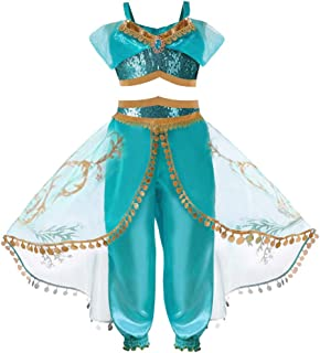 Jasmine Costume for Girls/Womens,MOHOLL Arabian Princess Dress Up Costume Teal & Gold Outfit Halloween Cosplay Costumes