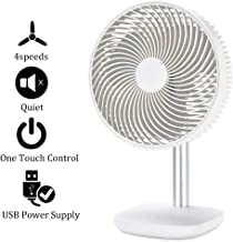 Battery Powered Rechargeable Desk Fan with 4000mAh Capacity, YDS Battery Operated USB Fan with Long Working Time, Whisper Quiet, Personal Cooling Fan for Camping & Home & Office & Hurricane.