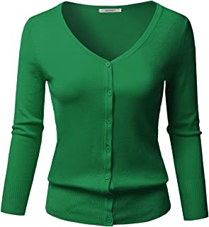 Awesome21 Women's Solid Button Down V-Neck 3/4 Sleeves Knit Cardigan