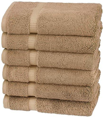 Amazon Brand – Pinzon Organic Cotton Hand Towels, Set of 6, Latte Tan