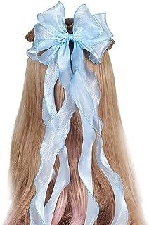 HDBD 3-Layer Big Bow Hair Clip Glitter Long Ribbon Hairpins Ponytail Braids Hairpins