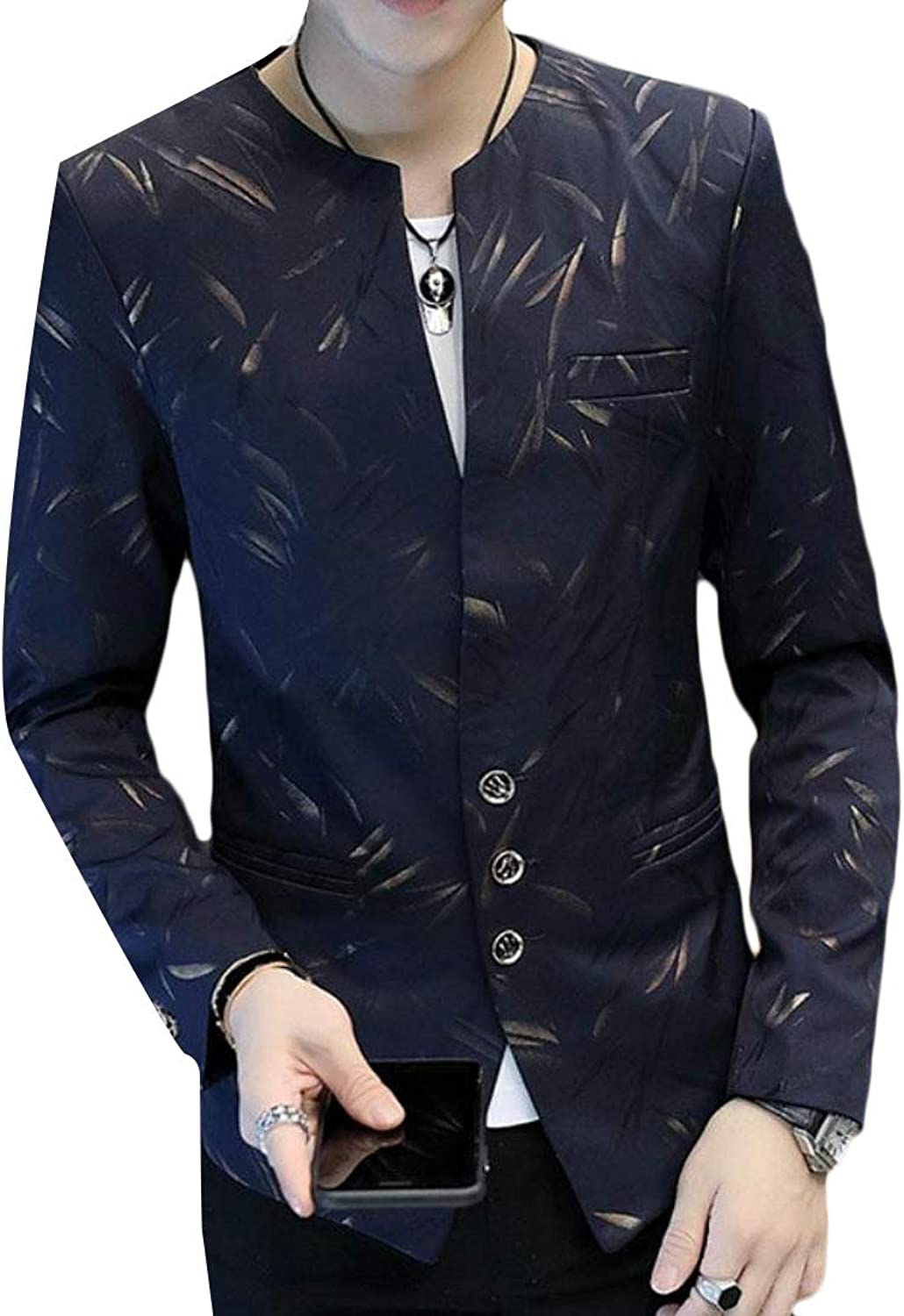 8cb91c640a830f Cromoncent Men Long Sleeve Printing Fashion Fall Casual Coat Coat Coat  Button Down Blazer Suit Jacket 640b9e