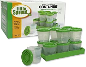 Baby Food Storage Containers (12 Pack) - 2oz Reusable, Stackable, Leakproof Plastic Jars with Tray & Dry-Erase Marker - Fr...